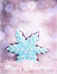 Tasty Christmas cookie, snowflake shape homemade gingerbread with blue sugar topping, festive greeting card with best wishes